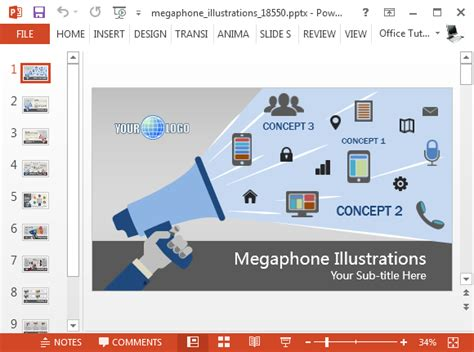 animated megaphone powerpoint template
