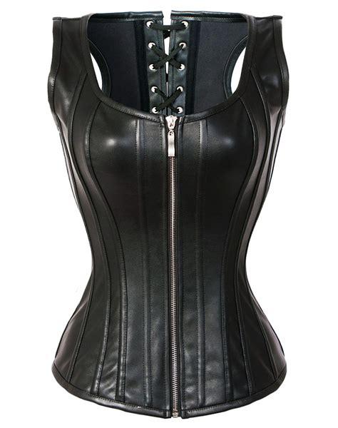 steunk steel boned corset bustier overbust faux leather halter waist cincher top steunko steel boned faux leather corset wholesale china supplier