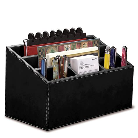 Black Desk Organizer Desk Set Three Pieces Leather Desk Set Desk Accessories Desk Organizers Levenger