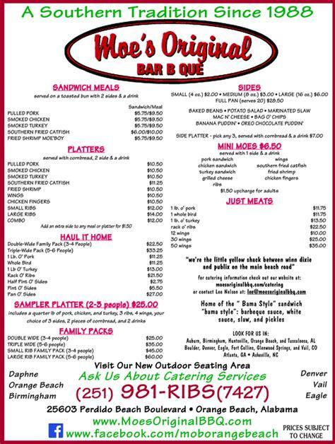 tops bar bq menu moes original bar b que orange beach al 36561 yellowbook