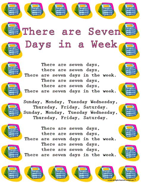 week song seven days or 7 days may refer to