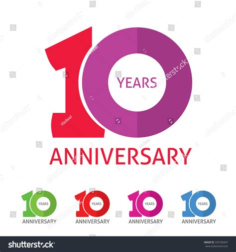 anniversary logo template 10th anniversary logo template shadow on stock vector