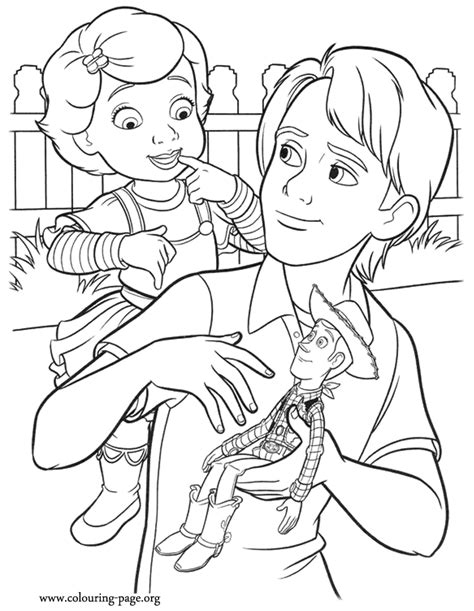 toy story andy donating woody coloring page