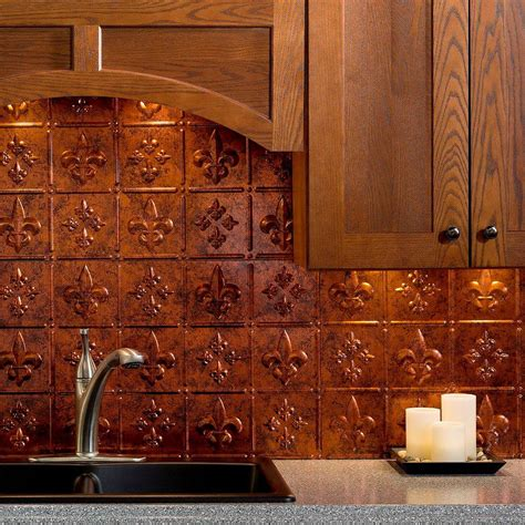 rock backsplash faux stone tin lowes home depot kitchen shiplap fasade 24 in x 18 in fleur de lis pvc decorative tile
