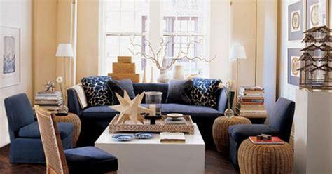 walls  beige   navy     upholstery warm wood tones