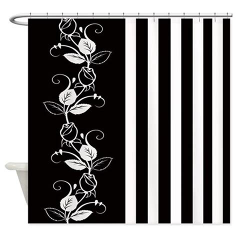 Black Shower Curtain With White Flower by Black And White Flowers Stripes Shower Curtain By