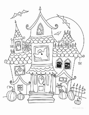 haunted houses coloring sheets printable coloring pages