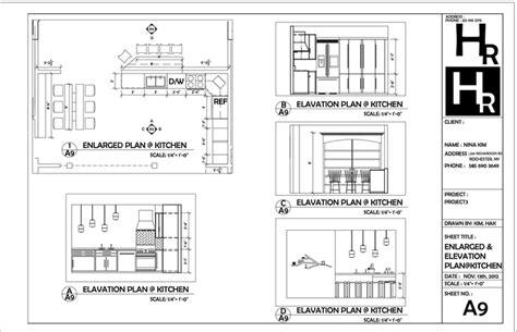 kitchen plan section elevation kitchen enlarged and elevation plan portfolio autocad