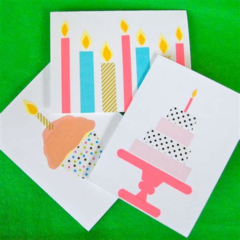 Diy Birthday Card Omiyage Blogs Diy Washi Tape Birthday Cards