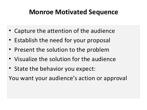 monroe motivated sequence pattern of organization persuasive presentation power point