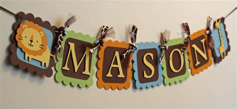 Jungle Theme Baby Shower Banner by Jungle Safari Animal Name Banner Jungle Baby Shower