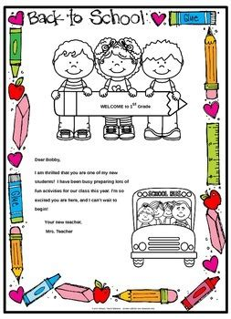Back To School Welcome Letter And Postcard Editable By Primary Teachspiration Back To School Postcard Template