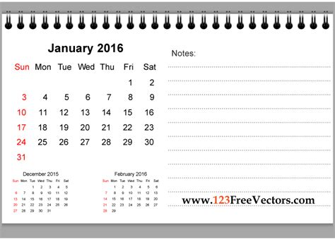 january 2016 calendar template download clipart free january 2016 printable calendar with notes download free