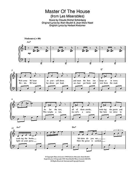 master of the house sheet music master of the house from les miserables sheet music by boublil and schonberg easy