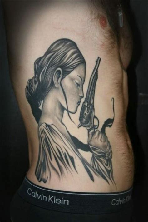 tattoo girl with gun girl with gun tattoo design photo illustration