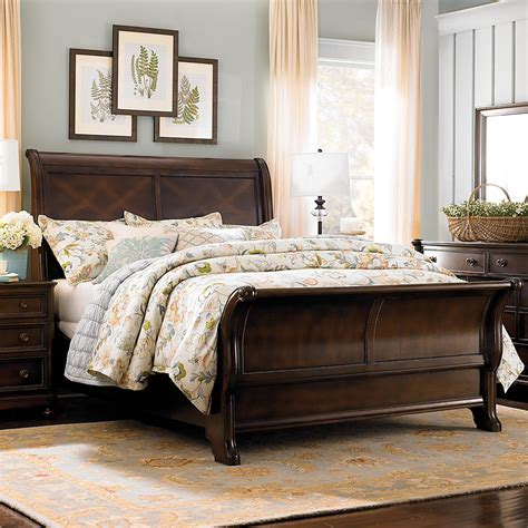 Dark Finish Queen Sleigh Bed Sleigh Bed