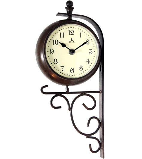 double sided clock and thermometer in outdoor clocks