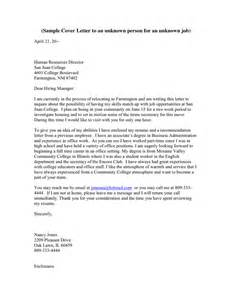 Cover Letter To Unknown Person cover letter template in word and pdf formats