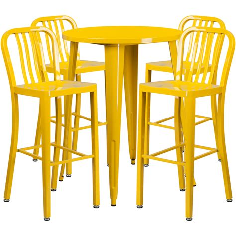 Indoor Bar Table 30 Yellow Metal Indoor Outdoor Bar Table Set With 4 Vertical Slat Back Stools