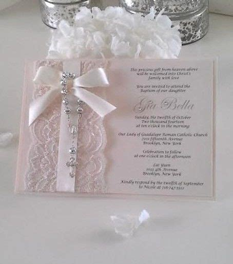 vintage lace rosary baptism christening or communion invitation blush pink baptisms communion