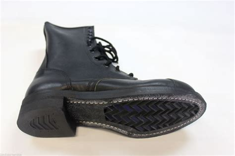 s black leather steel toe motorcycle combat boots size