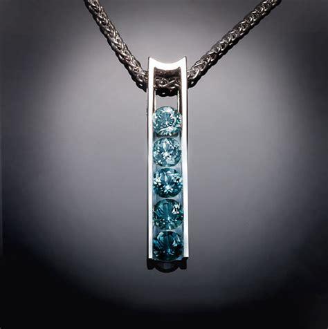 blue topaz necklace ombre necklace argentium silver pendant