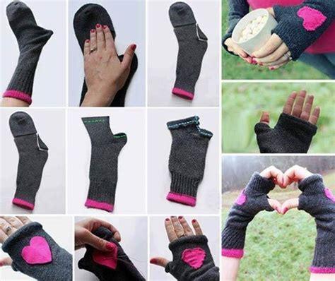 creative diy fingerless gloves from socks