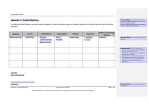 quality objectives template quality manual template bestsellerbookdb