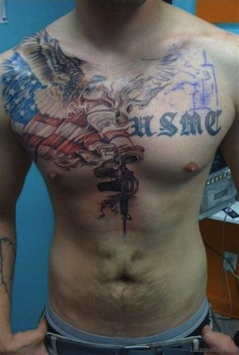 Chest Tattoo Military | 57 classic flag tattoos on chest