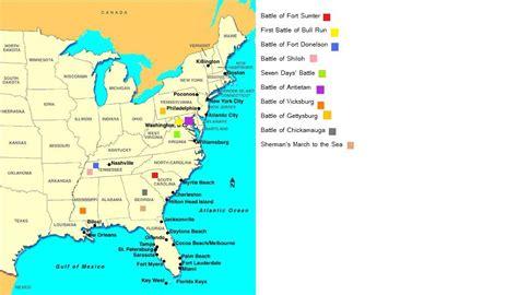 map of civil war battles in us corieyatzus map of battle