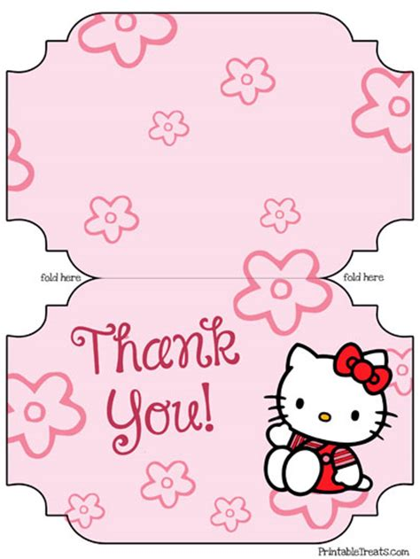 printable hello kitty thank you cards printable treats com