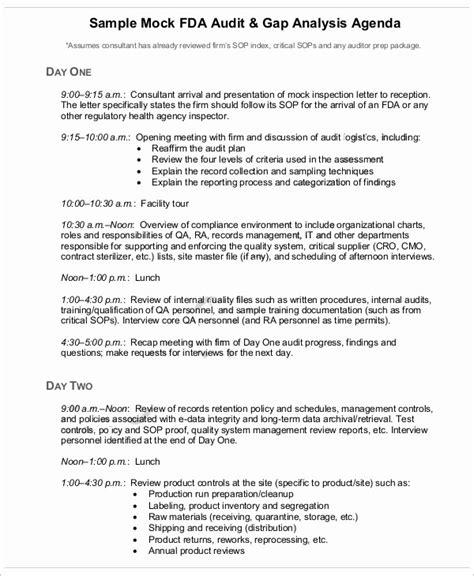 audit agenda template 9 sle audit agenda free sle exle format