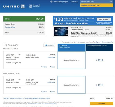 united airlines booking 137 houston to boston nonstop r t fly com travel blog