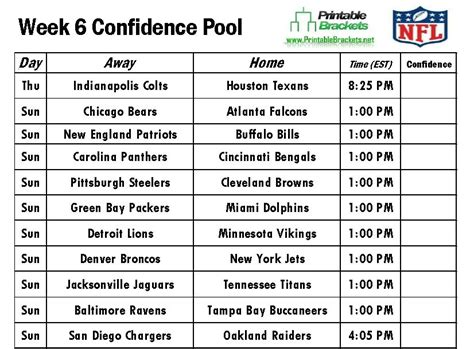 Office Football Pool Week 6 Nfl Confidence Pool Week 6 Football Confidence Pool Week 6