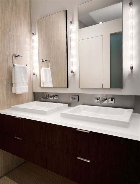side lights for bathroom mirror lighted bathroom mirror contemporary with grey trim vanities