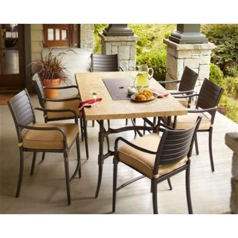 Patio High Dining Set Hton Bay 7 Patio High Dining Set With Textured Golden Wheat Cushions