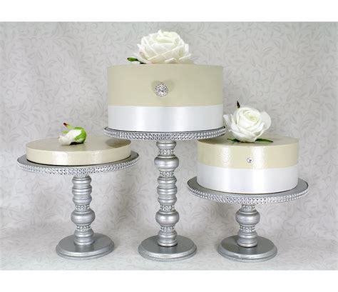 Wedding Cakes Stands by 3 Silver Cake Stands Set Wooden Rhinestone