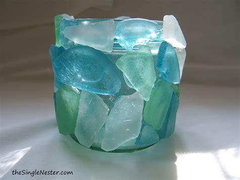 glass craft sea glass votive craft ideas