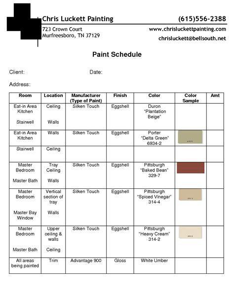 colors schedule paint schedule exle guidelines schedule templates