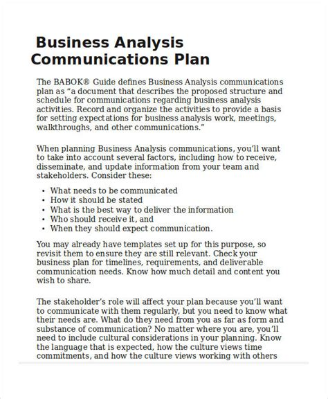business analysis plan template 39 communication plan exles sles