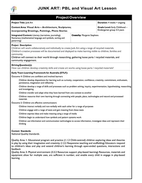 learning focused lesson plan template junk project based learning lesson plan educationcloset