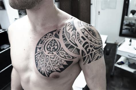 ornaments tattoo with polynesian and chest tattoo