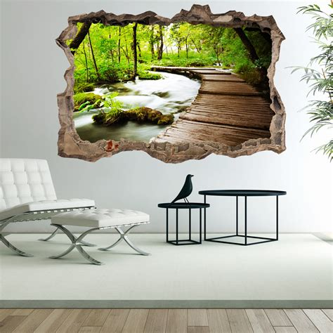 3d murals 3d wall illusion wallpaper mural photo print a hole in the wall optical design ebay