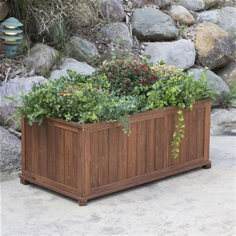 outdoor raised patio planter box in brown wood 41