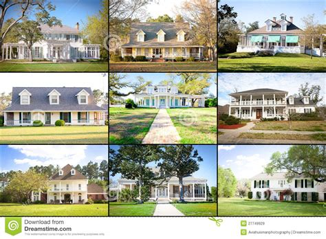 Plantation House Plans Large American Homes Collage Stock Image Image 27749929