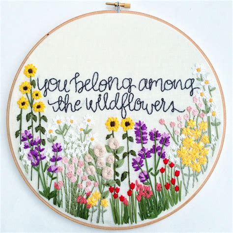 embroidery pattern image wildflowers hand embroidery pattern beginner pattern flower