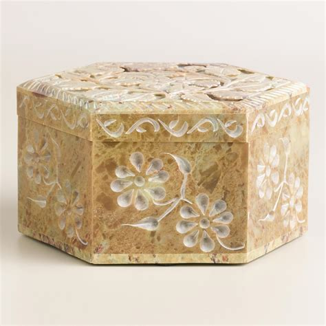 Soapstone Boxes hexagon carved soapstone box world market