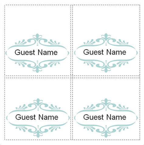 wedding place card template free word sle place card template 6 free documents in