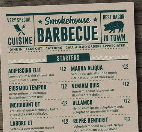 25 Awesome Typographic Restaurant Menu Templates Print Idesignow Bbq Menu Template