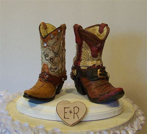 Cowboy Boots Cake Decorations by Wedding Cake Topper His And Western Cowboy Boots